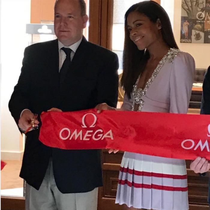Naomie Harris had a special meeting with Prince Albert  during the opening of Monaco's first Omega store.