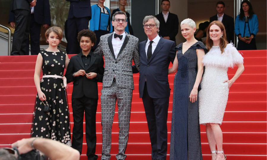 The cast and crew of <i>Wonderstruck</i> including Pamela Koffler, Jaden Michael, Brian Selznick, Todd Haynes, Michelle Williams and Julianne Moore posed on the steps of the Palais des Festivals during the film's screening.
