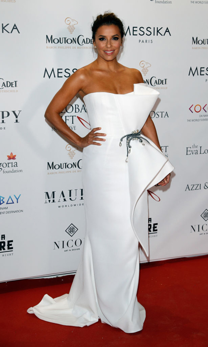 Eva Longoria wore an Azzi & Osta white couture dress and Messika jewelry to the Global Gift Gala at Mouton Cadet Wine Bar.