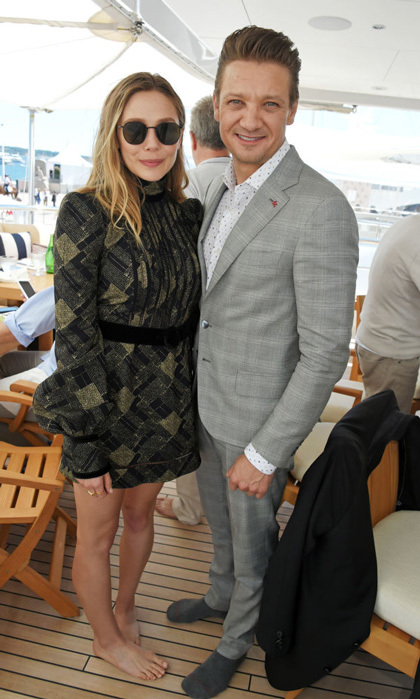 Elizabeth Olsen went barefoot with Jeremy Renner at a lunch hosted by Lexus for The Weinstein Company's <i>Wind River</i>.
