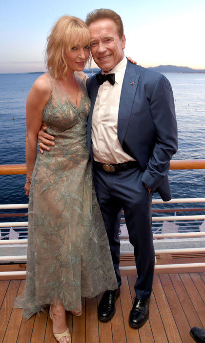 Uma Thurman and Arnold Schwarzenegger took in the beautiful views from the Hotel Du Cap-Eden Roc during the HBO and Vanity Fair dinner.