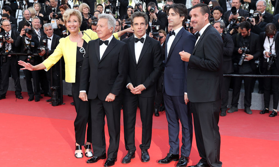 Count the comedians! Emma Thompson, Dustin Hoffman, Ben Stiller, director Noah Baumbach and Adam Sandler were quite the crew on the carpet for <i>The Meyerowitz Stories</i>.