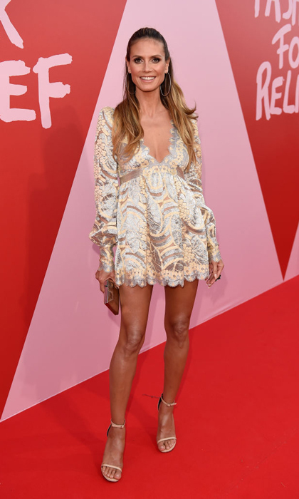 Heidi Klum made it to the festival in time for the Fashion for Relief party.