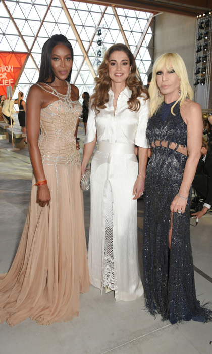 Queen Rania caught up with old friend Naomi Campbell and Donatella Vesrace during the Fashion for Relief runway show in Cannes in May 2017.