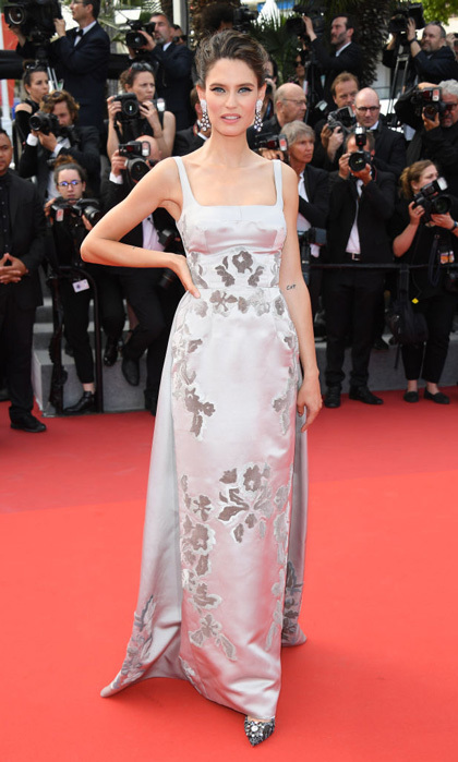 Italian supermodel Bianca Balti wore a Dolce & Gabbana gown with DeGrisogono earrings to the 70th anniversary celebration of the Cannes Film Festival.
