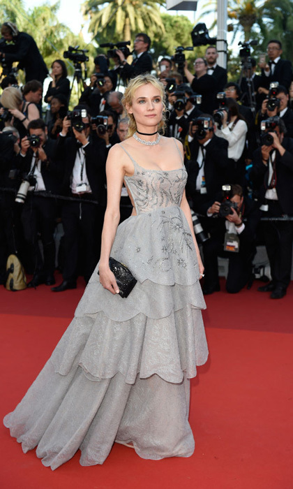 Diane Kruger looked like she stepped out of a fairy tale in her tiered backless gown for the anniversary celebration in Cannes.