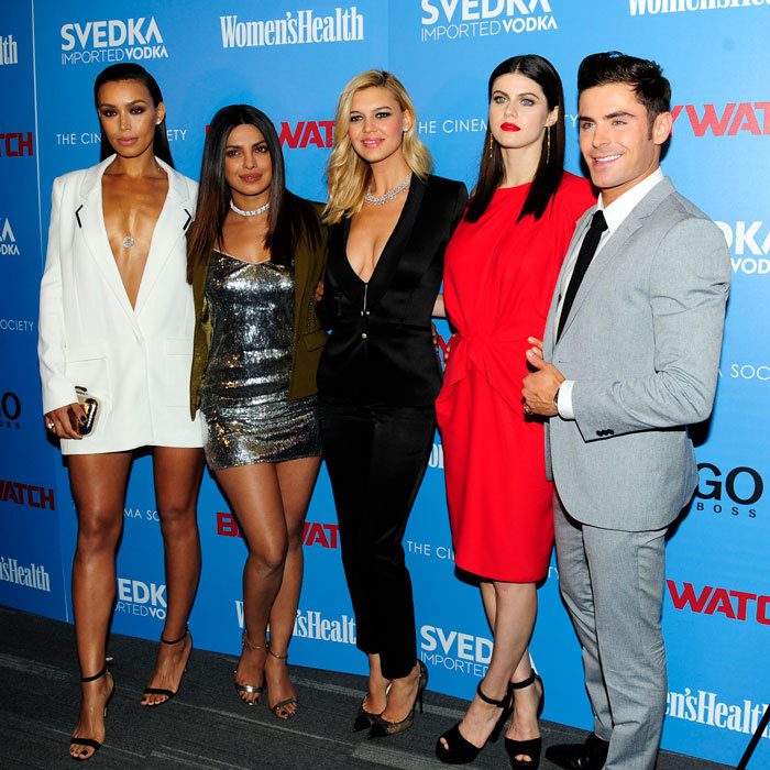 Zac Efron and his ladies! Ilfenesh Hadera, Priyanka Chopra, Kelly Rohrbach and Alexandra Daddario stepped out at the NYC premiere for <i>Baywatch</i> and then continued the fun with SVEDKA at Mr. Purple for the after-party.