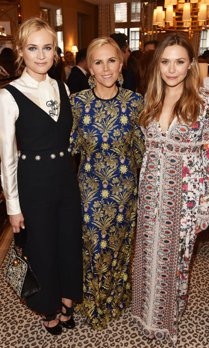 Elizabeth Olsen turned up in London after spending several days in Cannes along with Diane Kruger and Tory Burch for the designer's Regent Street opening.