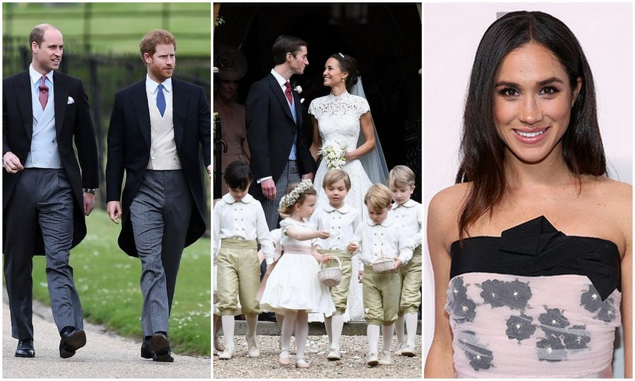 On May 20, Prince Harry arrived to Pippa Middleton's English countryside wedding with brother Prince William (left), but he later brought Meghan (right, in a file photo), as his date to the reception.