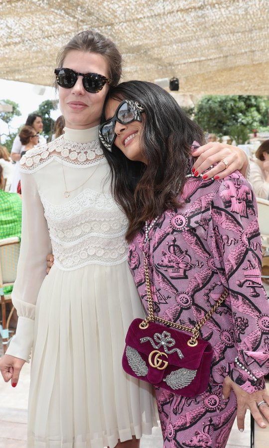 Actress Salma Hayek and Princess Grace's granddaughter Charlotte Casiraghi looked like true BFFs at the Kering Women in Motion lunch with Madame Figaro on May 22 in Cannes, France. 