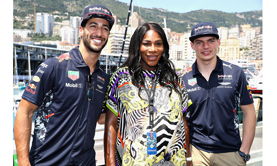 May 28: Pregnant tennis superstar Serena Williams found a pair of fans in Daniel Ricciardo and Max Verstappen of Red Bull Racing during the Monaco F1 in Monte-Carlo. 