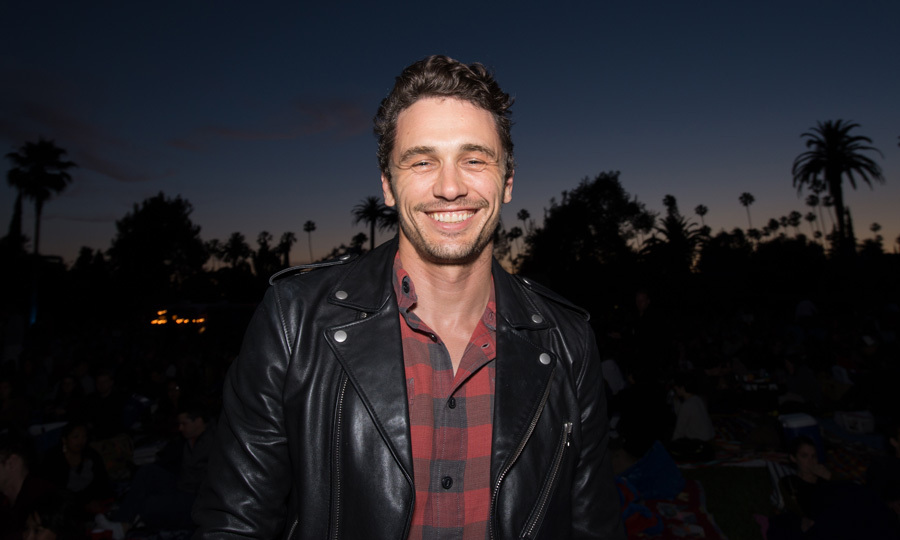 May 27: James Franco sported a big grin attending the Cinespia screening of <i>North by Northwest</i> presented by Amazon Studios at Hollywood Forever Cemetery.