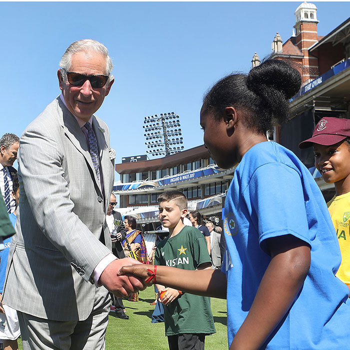 Nice to meet you! Prince Charles met young cricket players during the launch of the ICC Champions Trophy 2017 at the The Oval in London on May 25.