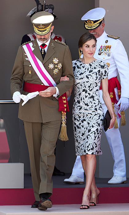 King Felipe VI of Spain and Queen Letizia kept in step with one another on Armed Forces Day in Guadalajara, Spain on May 27.