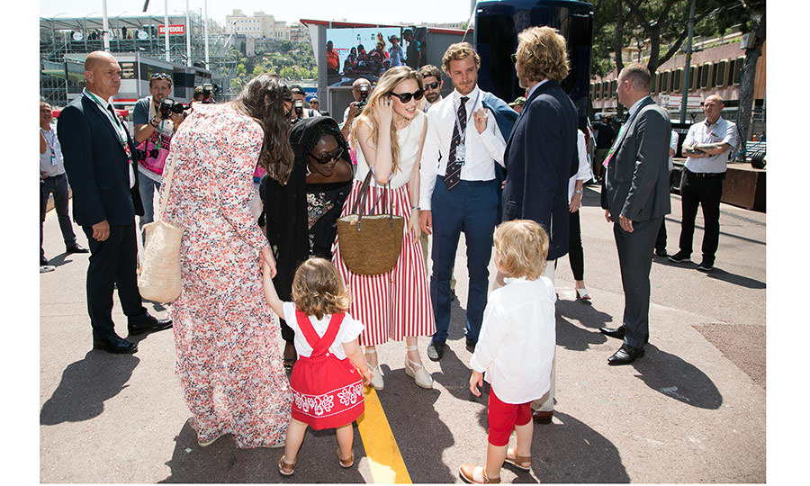 New parents Pierre Casiraghi and Beatrice Borromeo, center, said hi to their niece and nephew India, two, and Alexandre, four, at the F1 race in Monaco.