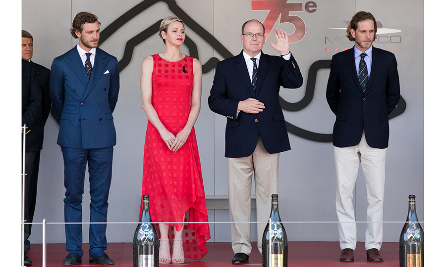 A royal lineup at the Formula One race in Monaco, from left to right: Pierre Casiraghi, Princess Charlene, Prince Albert of Monaco and Andrea Casiraghi. 