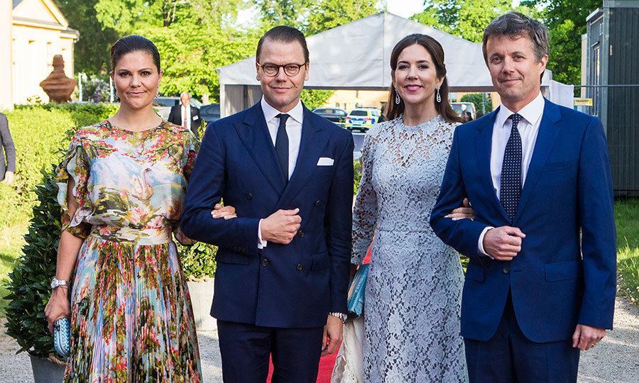 It's a royal style summit! Crown Princess Victoria of Sweden, Prince Daniel of Sweden, Crown Princess Mary of Denmark and Crown Prince Frederik of Denmark were a fashionable foursome at an official dinner at Eric Ericssonhallen on May 29 in Stockholm.