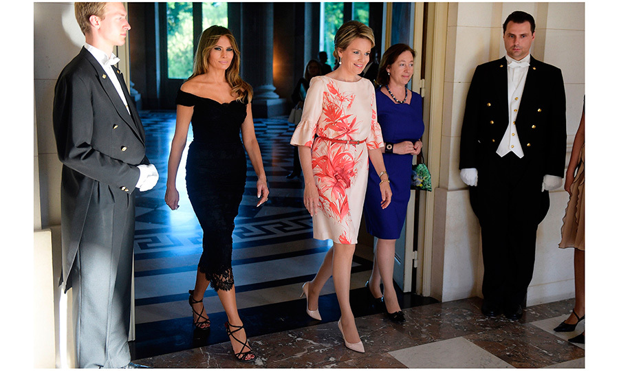 Queen Mathilde of Belgium and First Lady Melania Trump met up before a dinner held at the Royal castle in Laeken, on May 25 in Brussels.