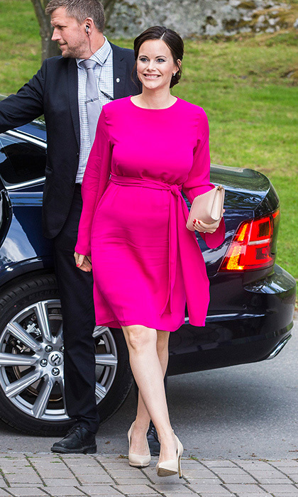 Pregnant Princess Sofia of Sweden was fabulous in fuchsia for  a merit ceremony held at at Sophiahemmet College in Stockholm.