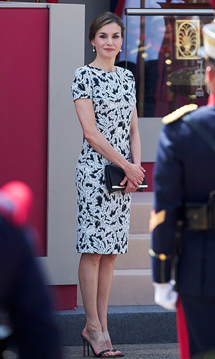 Black and white was also the theme of the day for Queen Letizia, who wore a sheath dress and see-through PVC stilettos to an event marking Armed Forces Day in Guadalajara, Spain. 