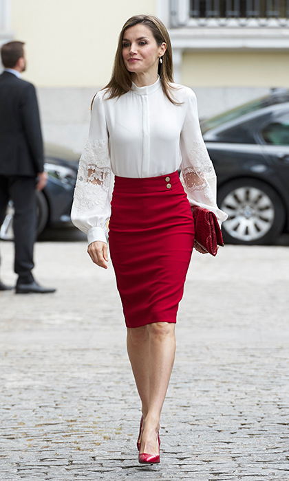 You can't go wrong with a pencil skirt and blouse – just ask Queen Letizia who wore a lace top with statement sleeves to a BBVA Bank Foundation event in Madrid.