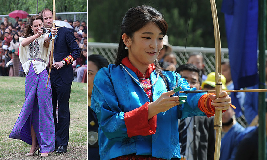 Just over a year after Duchess Kate tried her hand at archery in Bhutan, Princess Mako of Japan had her own Katniss Everdeen moment, picking up a bow and arrow at the Changlimithang National Archery Ground in Thimphu on June 3. Kate visited the same venue with husband Prince William in April 2016, left.