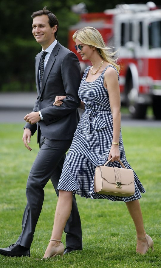Ivanka Trump was spotted wearing the season's hottest print as she made her way with her husband across the South Lawn to board Marine One at the White House in Washington, in May 2017. 