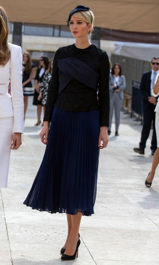 A navy blue accordian pleat skirt for Ivanka's visit alongside Melania Trump to the Western Wall plaza in Jerusalem's Old City in May 2017.