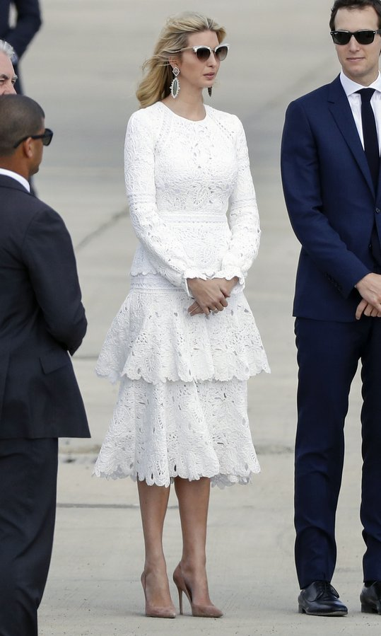 The first daughter wore a white Oscar de la Renta as departed from Ben Gurion International Airport in Tel Aviv on Air Force One in May 2017. She paired the lace, tiered dress with nude pumps and cat eye sunglasses.