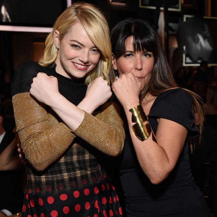 June 8: Emma Stone showed off her best Wonder Woman stance with director Patty Jenkins at the 45th AFI Life Achievement Award Gala honoring Diane Keaton in Hollywood.