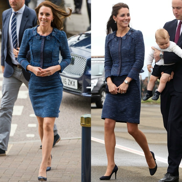 The stylish royal stepped out donning her demure, blue Rebecca Taylor tweed skirt suit, which she paired with her Manolo Blahnik court shoes. for her June 12 visit to meet with victims of the London Bridge and Borough Market terror attacks at King's College Hospital. Kate wore the sophisticated number back in 2014 during her royal tour of New Zealand with Prince William and their son Prince George.