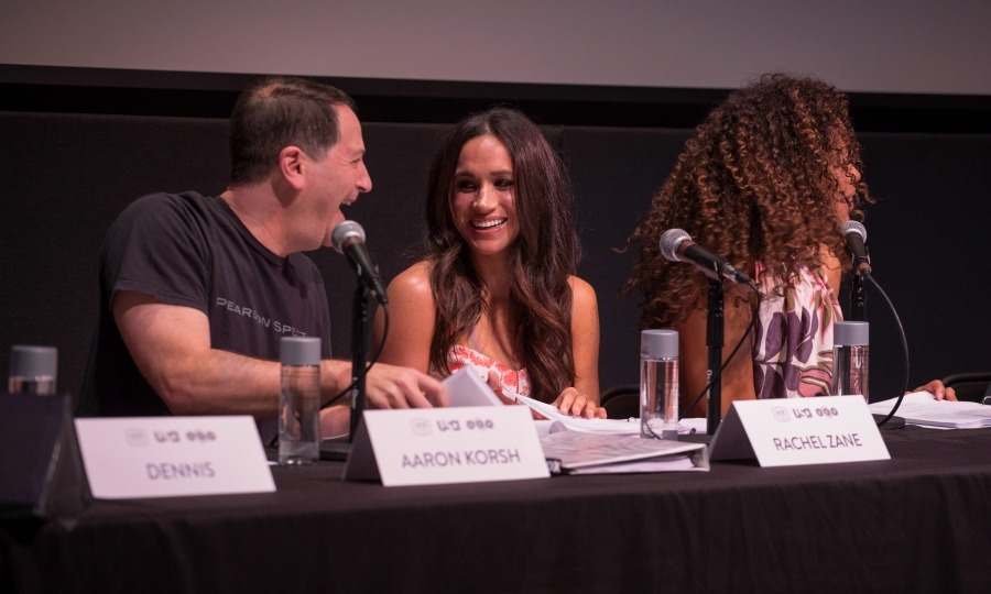 June 11: Meghan Markle shared some laughs with <i>Suits</i> creator Aaron Korsh during the episode one table read at the ATX Television Festival in Austin, Texas. 
