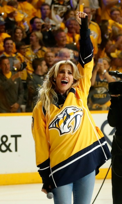 June 11: Faith Hill represented for Smashville and America as she sung the <i>National Anthem</i> ahead of game six of the Stanley Cup finals, which saw the Nashville Predators fall short to the Pittsburgh Penguins who clenched their third consecutive Stanley Cup win. 