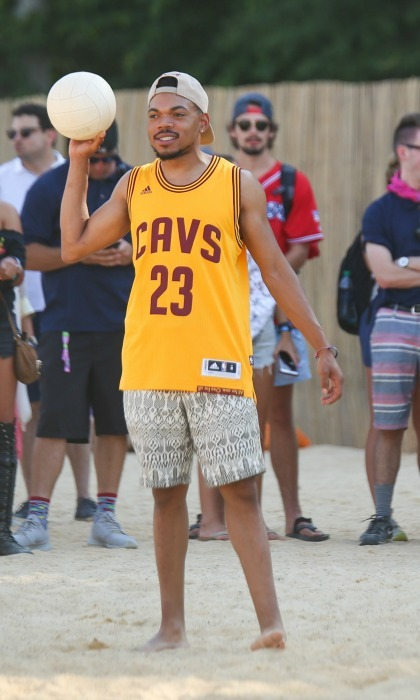 June 10: Chance the Rapper didn't want any problems on the volleyball court during his warm up game at The Oasis Mixed by Bacardi event at Bonnaroo in Manchester, Tennessee.