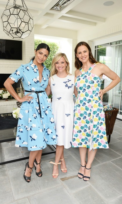 June 6: Three hot mamas with style! Camila Alves, Reese Witherspoon and Jennifer Garner were all smiles (and floral perfection) during the NET-A-PORTER x Draper James event in Beverly Hills, California.  