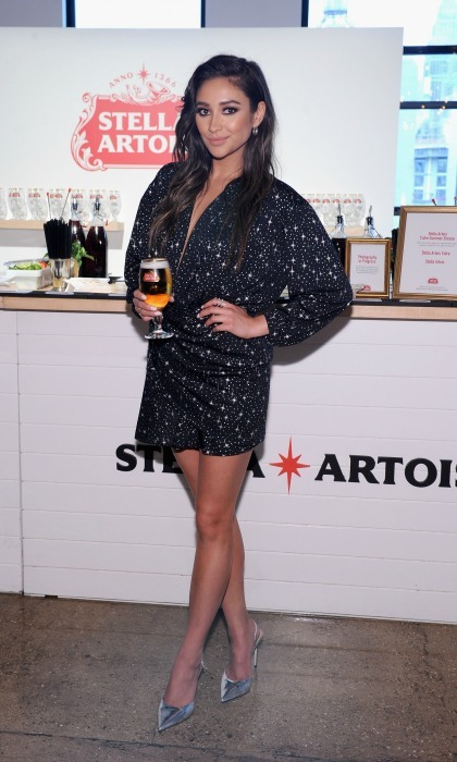 "June 6: Pour it up! Shay Mitchell had her drink on hand during the Stella Artois ""Host One to Remember"" event in NYC where the <i>Pretty Little Liars</i> actress curated some of her favorite foods to pair with the beverage of choice.