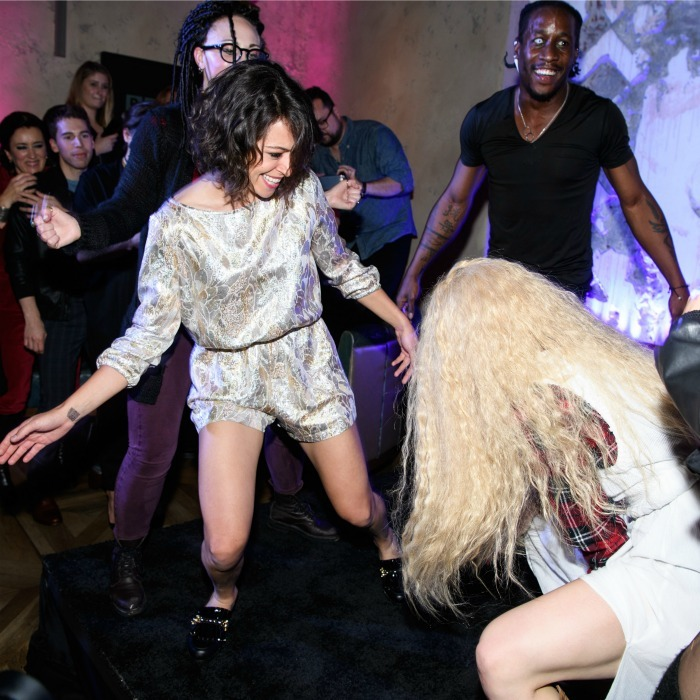 June 6: Tatiana Maslany showed off her best dance moves at BBC AMERICA's <i>Orphan Black</I> premiere party at Vandal in NYC. 