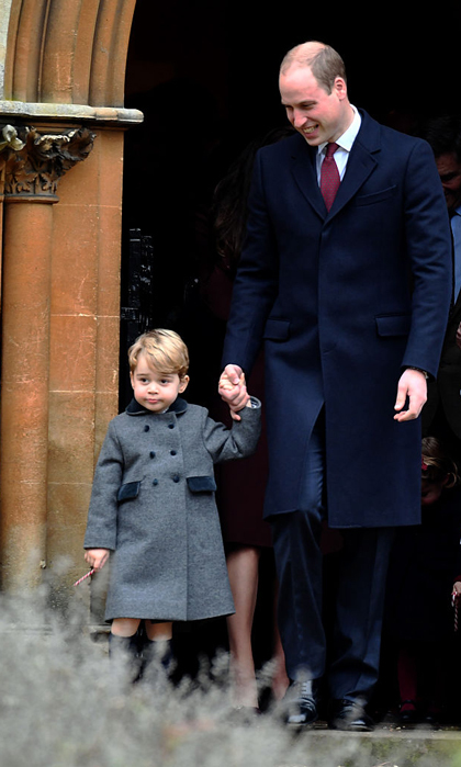 Prince William held on to Prince George's hand as the father-son duo left church after Christmas service. As they made their way out, the little royal also held on to his candy cane in the other hand.