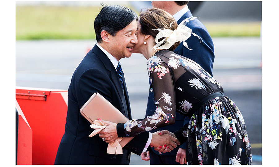 Crown Princess Mary of Denmark gave a warm welcome to Crown Prince Naruhito as the Japanese royal landed at Copenhagen airport to begin his six-day visit. 