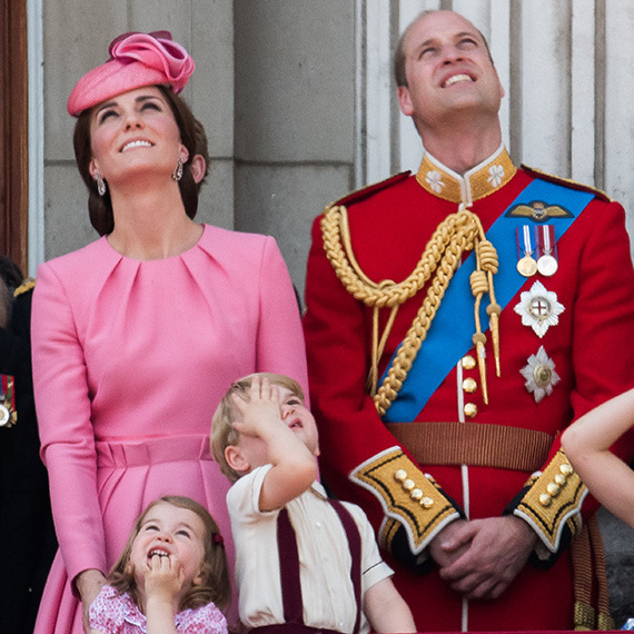 Look up! The royal foursome happily observed the Royal Air Force flypast from the balcony of Buckingham Palace. The children appeared particularly interested, with Prince George staring up in disbelief and Princess Charlotte gazing in wonder.