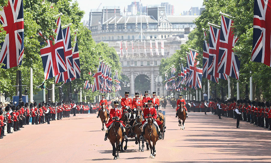 The Queen's troops formed the parade down the Mall as soldiers lined the roadside, during the wonderful sunny day in London.