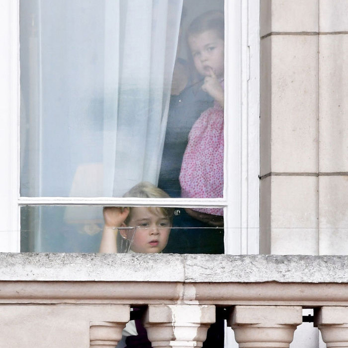 Prior to taking the balcony with the royal family, Prince George and Princess Charlotte, who made her debut at Trooping the Colour, watched the 2017 parade from inside Buckingham Palace.