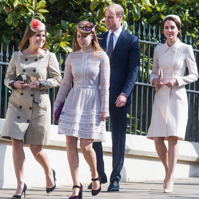 April 2017: Eugenie and Beatrice wore their Sunday best for Easter with their family including Prince William and Kate Middleton.