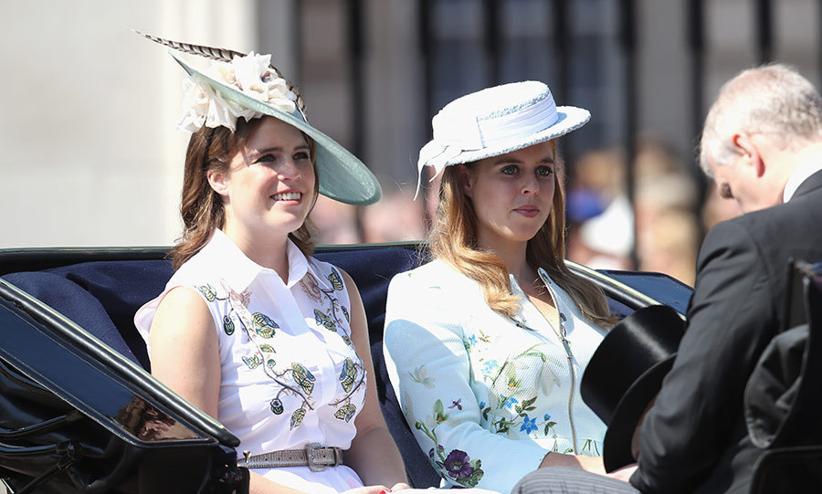 June 2017: Matching in florals, Eugenie and Beatrice rode in the Trooping the Colour parade on their way to Buckingham Palace.
