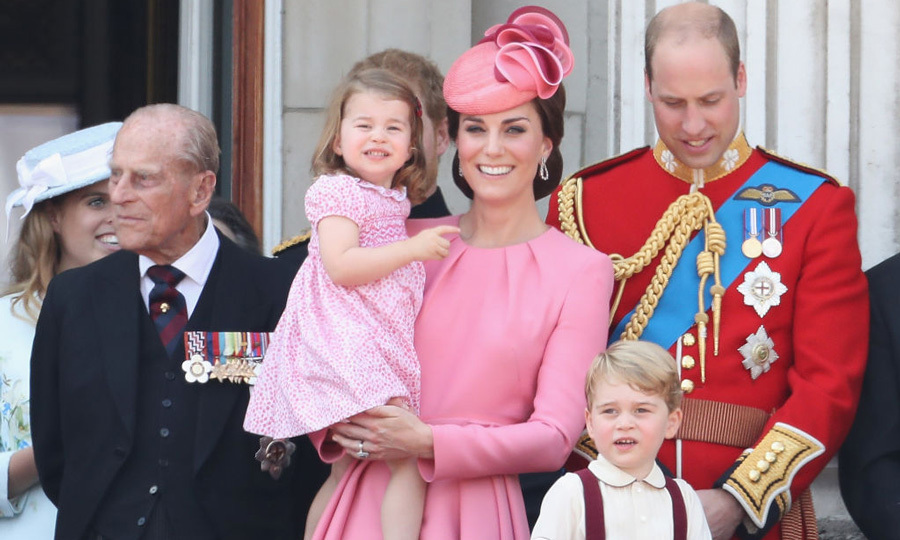 Princess Charlotte coordinated with her mom Duchess Kate in pink for the 2017 Trooping the Colour. During the REF flyover, she and her brother George waved to the pilots and were all smiles.