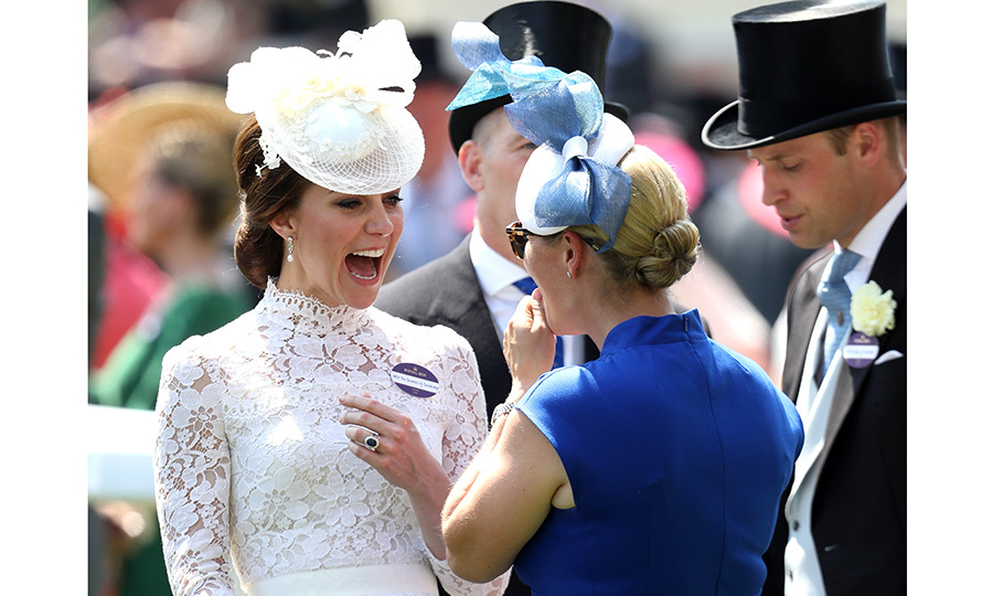 Cousins-in-law Kate Middleton and Zara Tindall did some bonding as their husbands William and Mike looked on.
