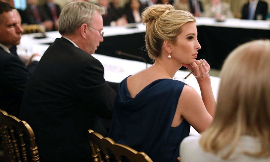Ivanka Trump elevated her look with an elegant updo and pearl earrings for the Technology Council Roundtable in D.C. 
