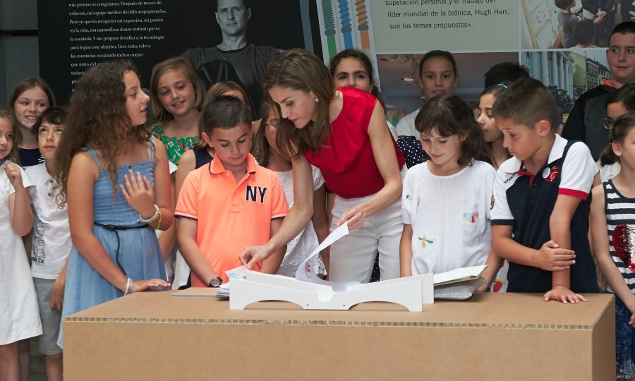 Queen Letizia of Spain met with schoolchildren at El Quirinal elementary in Aviles, Spain on June 20.