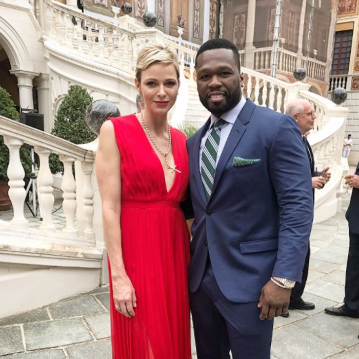 "Curtis '50 Cent' Jackson reunited with friend Princess Charlene at the royal palace in Monaco in celebration of the Monte Carlo TV Festival. Sharing a photo from the festivities, 50 wrote, ""I really had a amazing time.""