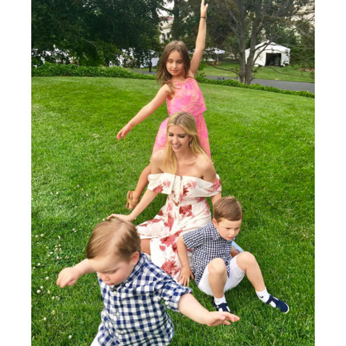 "Ivanka and her kids stop, drop and rolled during the Congressional Picnic. ""The mom-of-three wrote along with this candid photo: ""Family photo take #45 